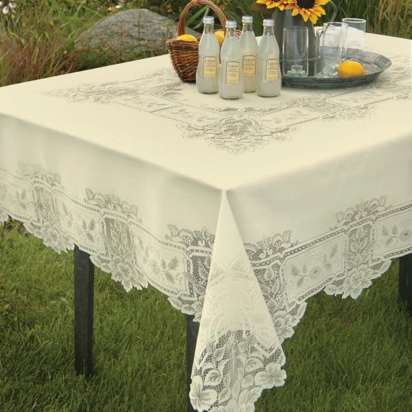 Heritage Lace Heirloom Rectangle ECRU Polyester Tablecloth HL-70108RE