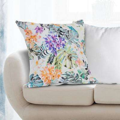 Fragrant Flower Garden 18 in. x 18 in. Multi Color Throw Pillow