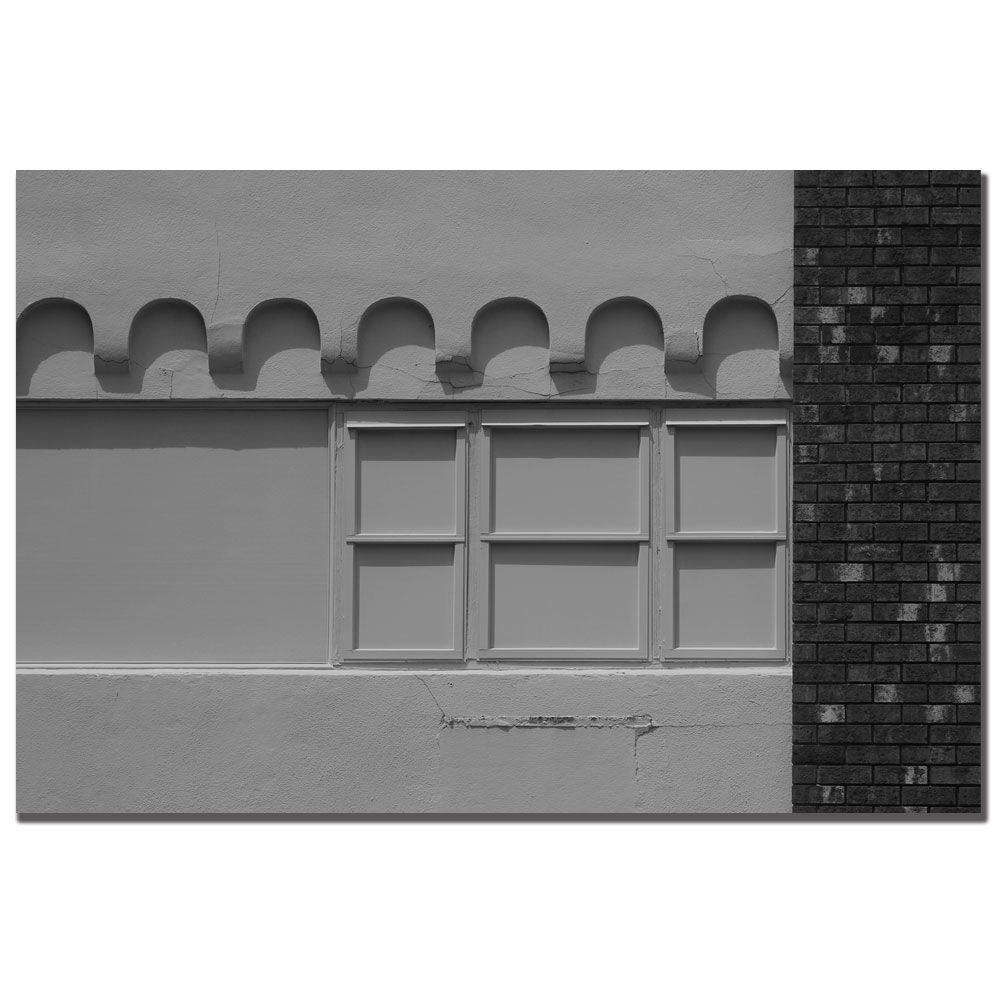 24 in. x 16 in. Window Painting Black and White Canvas