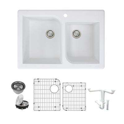 Radius All-in-One Drop-in Granite 33 in. 1-Hole 1-3/4 in. D-Shape Double Bowl Kitchen Sink in White