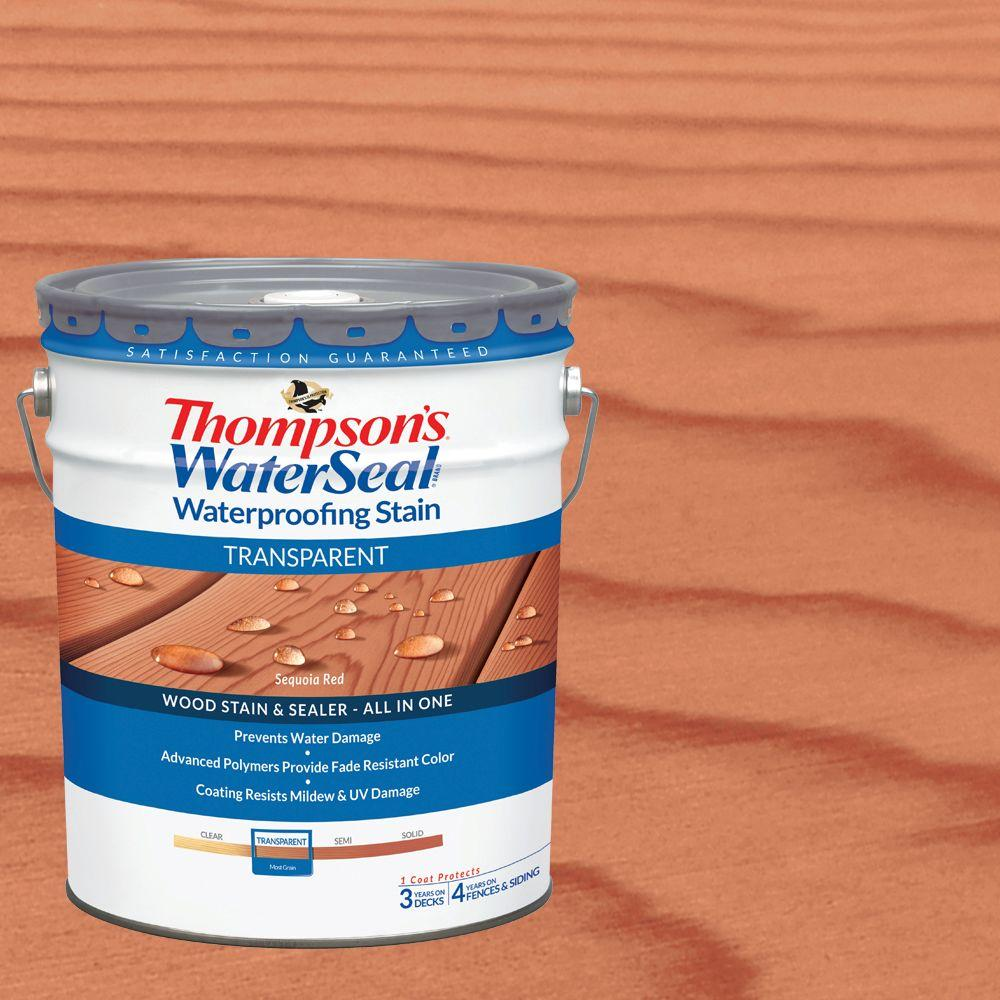 Thompson's WaterSeal 5 gal. Transparent Sequoia Red Waterproofing Stain Exterior Wood