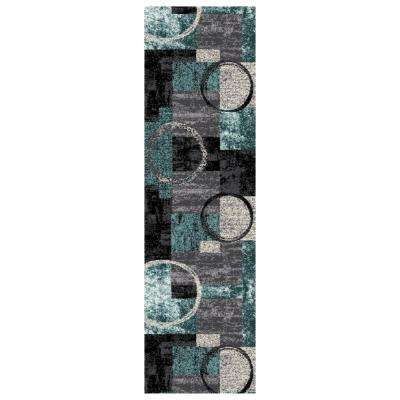 Modern Abstract Circle Gray 2 ft. x 7 ft. 2 in. Indoor Runner Rug