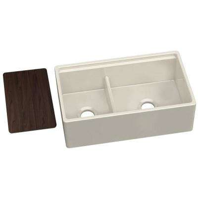 Farmhouse Apron Front Fireclay 33 in. Double Bowl Kitchen Sink in Biscuit with Aqua Divide