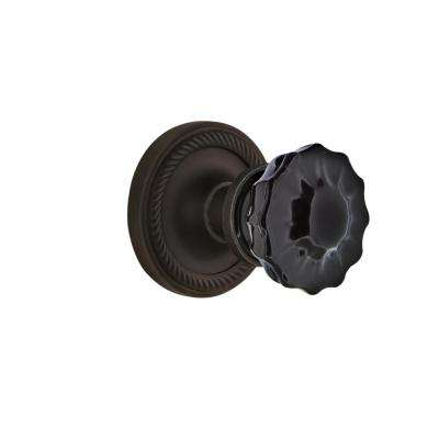 Rope Rosette 2-3/8 in. Backset Oil-Rubbed Bronze Passage Hall/Closet Crystal Black Glass Door Knob