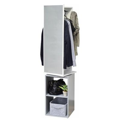 Modern D White and Gray Space Saving Entryway Organizer Mirrored 360 Degrees Swiveling
