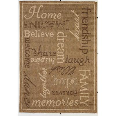 FW Collection Home Family Gold 9 ft. x 12 ft. Polypropylene Indoor/Outdoor Area Rug