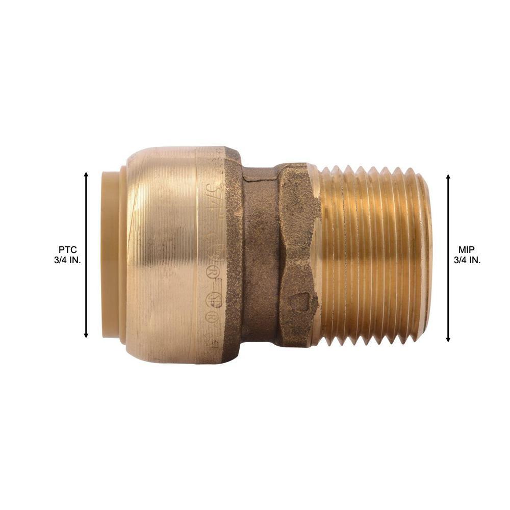 "3//4/"" Sharkbite Style Push-Fit x 3//4/"" MNPT Lead-Free Brass Male Threaded Adapter"