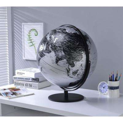 20.5 in. Black and Silver Globe with 3D Mountain Features on Black Metal Frame