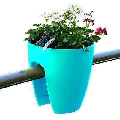11.4 in. x 11.8 in. x 11.4 in. Turquoise Plastic Railing and Deck Planter (2 pack)