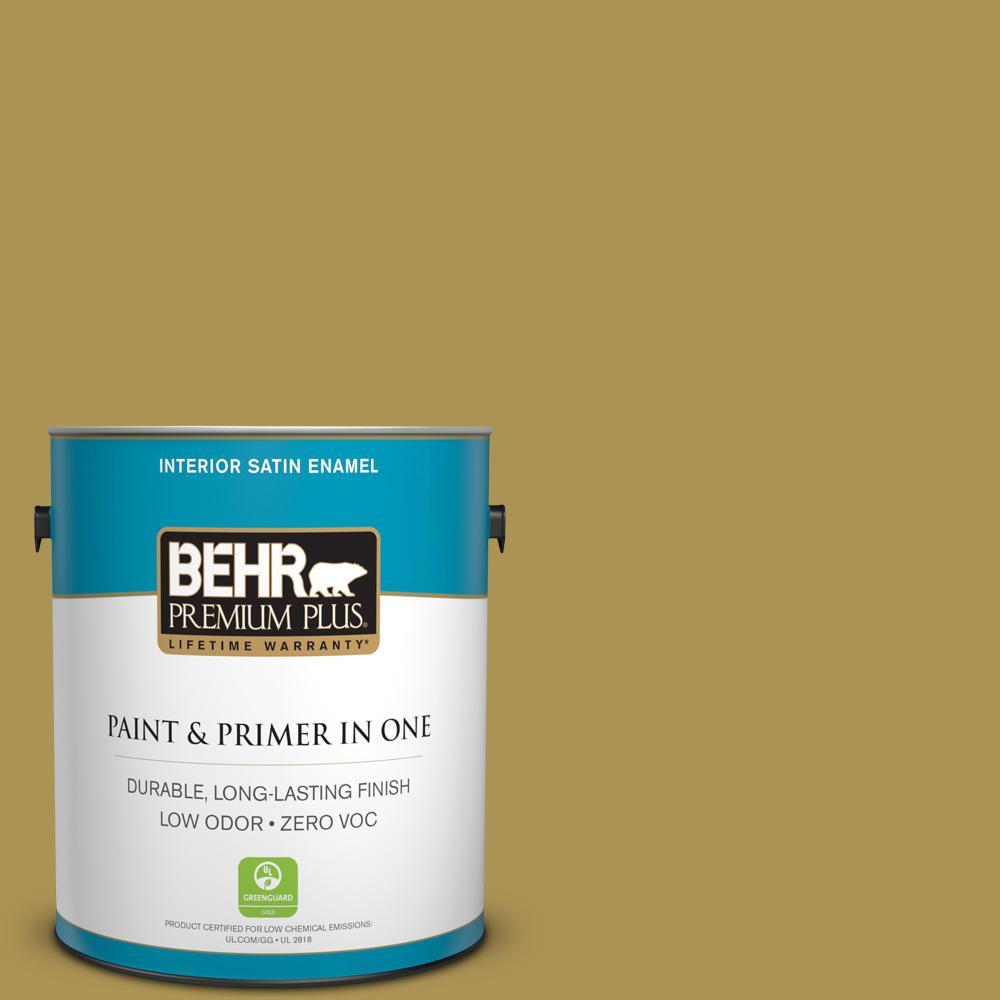 BEHR Premium Plus 1-gal. #M310-6 Bitter Lemon Satin Enamel Interior Paint