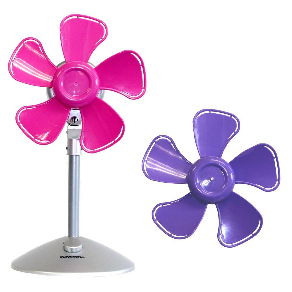 10 in. Flower Personal Fan with Interchangeable Blades in Pink and
