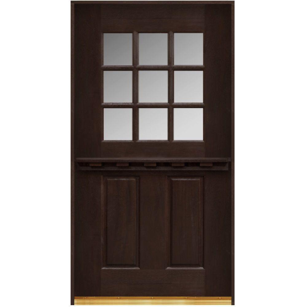 Main Door 30 in. x 80 in. Dutch Door Collection 9 Lite Prefinished Espresso Mahogany Stained Wood Prehung Front Door