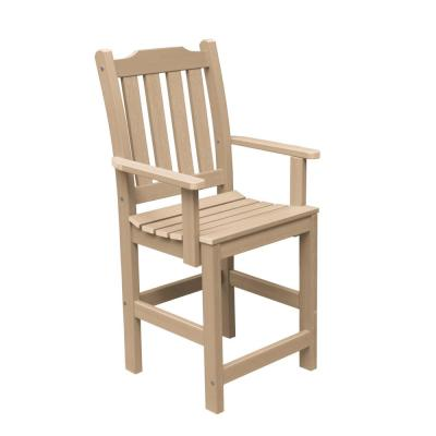 Lehigh Tuscan Taupe Counter-Height Recycled Plastic Outdoor Dining Arm Chair