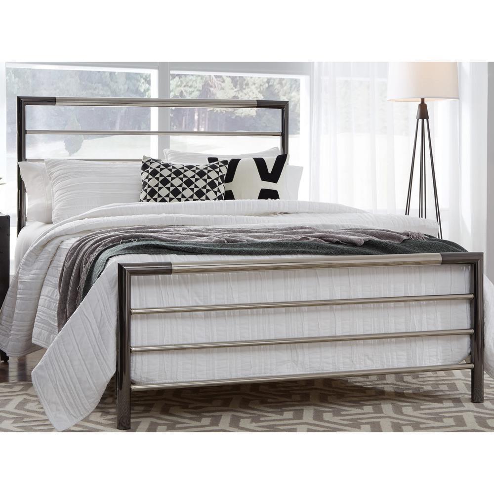 Kenton Chrome and Black Nickel King Metal Complete Bed with Horizontal Bar Design