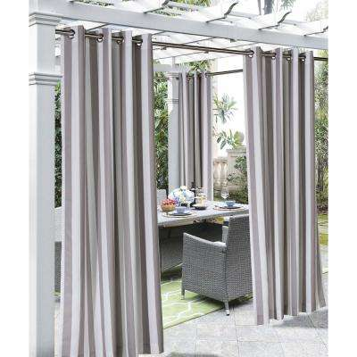 Coastal Stripe Taupe - 50 in. W x 108 in. L - Outdoor Light Filtering Window Panel