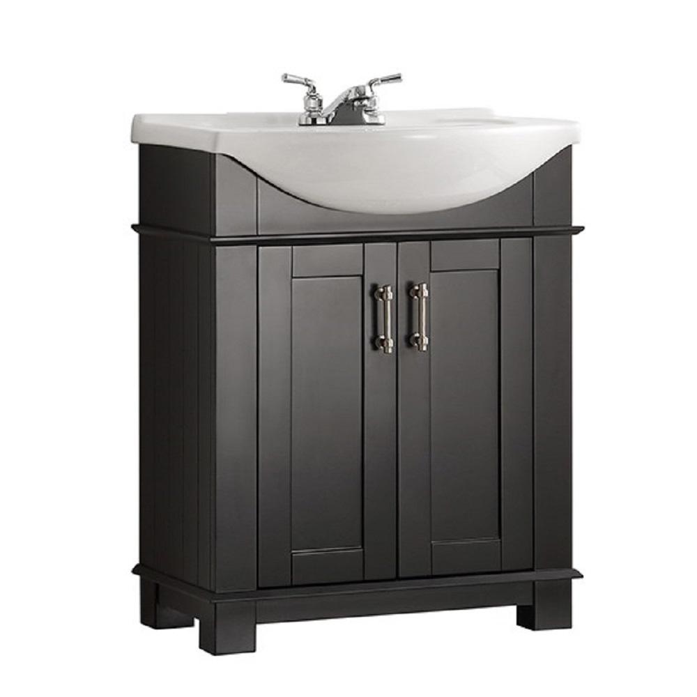 Hudson 30 in. W Traditional Bathroom Vanity in Black with Ceramic