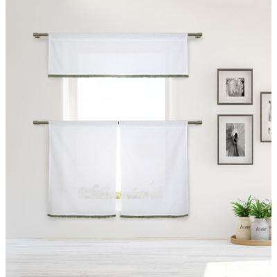 Tessie Kitchen Valance in White-Grey - 15 in. W x 58 in. L (3-Piece)