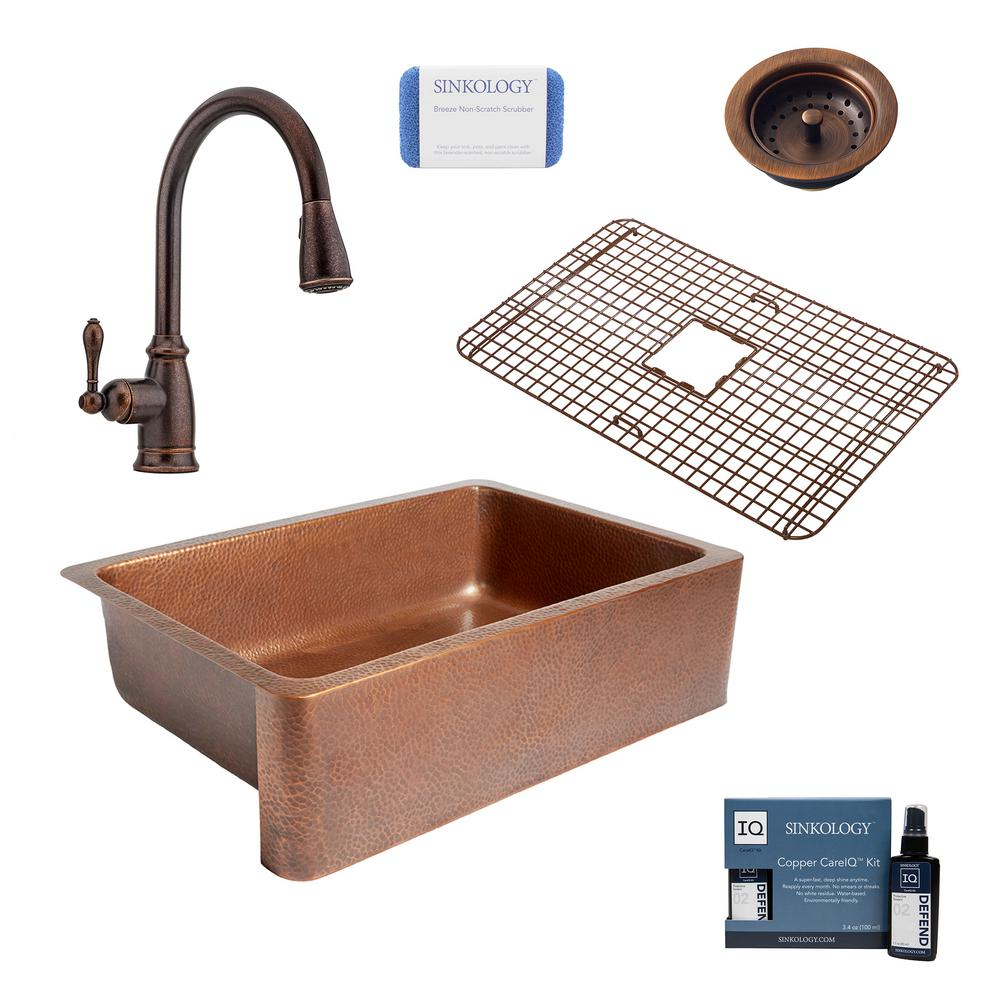 SINKOLOGY Adams All-In-One Farmhouse Copper 33 in. Single Bowl Kitchen Sink with Pfister Bronze Pull Down Faucet and Drain