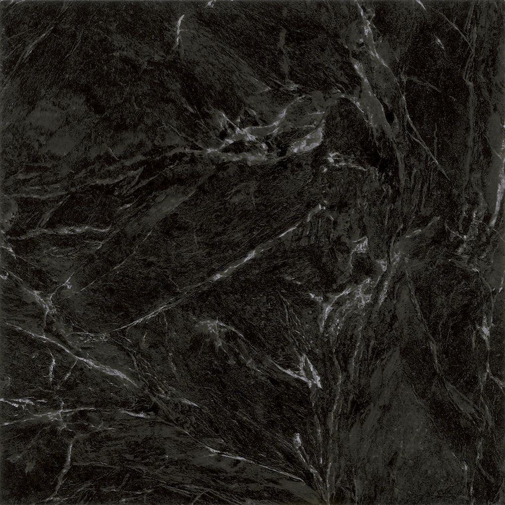 Black Marble 12 in. Width x 12 in. Length Peel and Stick Vinyl Tile