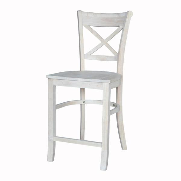 Astounding Charlotte Unfinished Wood 24 In Counter Stool Ncnpc Chair Design For Home Ncnpcorg