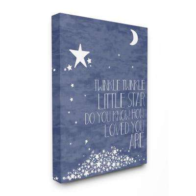 "30 in. x 40 in. ""Navy Textural Twinkle Little Star Typography"" by Karen Zukowski Printed Canvas Wall Art"