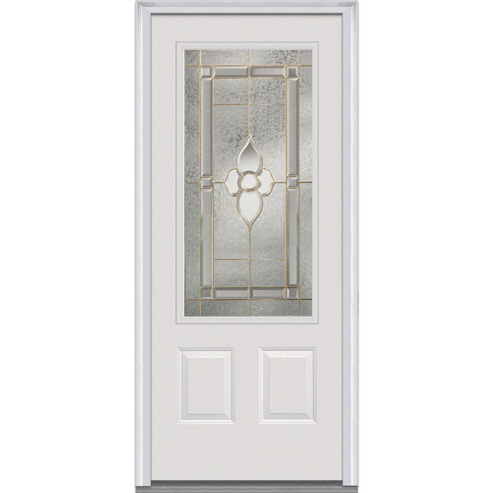 MMI Door 32 In. X 80 In. Master Nouveau Right Hand 3/4 Lite 2 Panel Classic  Primed Steel Prehung Front Door Z001425R   The Home Depot