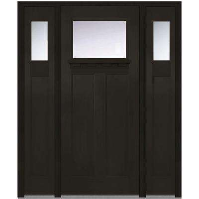 64 in. x 80 in. Craftsman Right-Hand 1-Lite Clear Stained Fiberglass Fir Prehung Front Door with Shelf and Sidelites