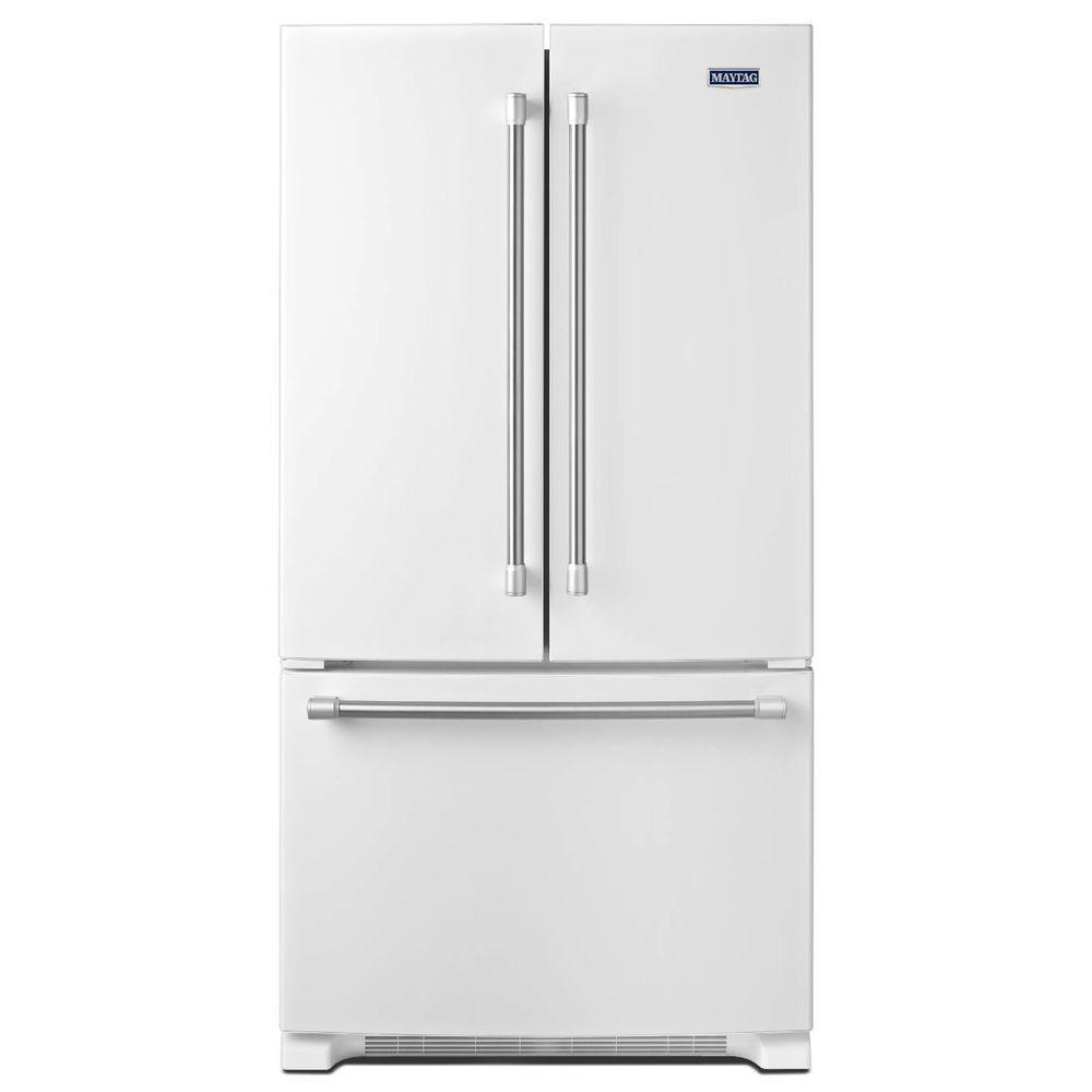 Maytag 33 in. W 22.1 cu. ft. French Door Refrigerator in White with Stainless Steel Handles