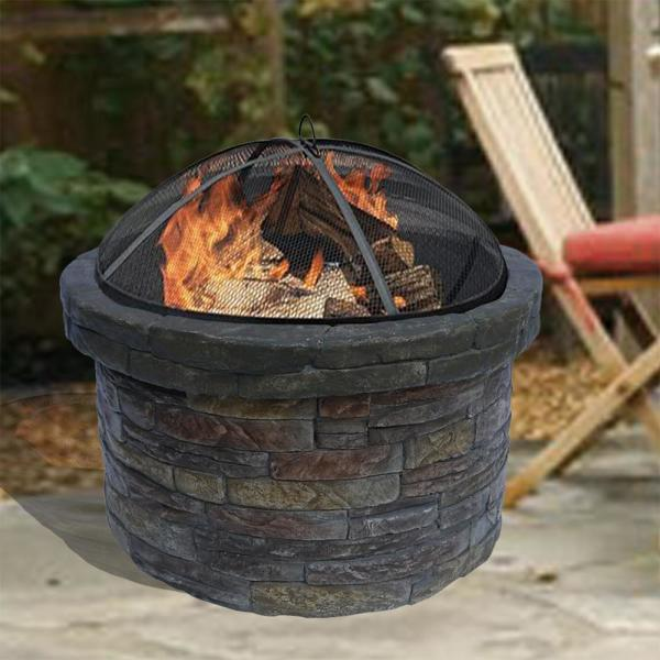 Peaktop 27 In Outdoor Round Stone Wood Burning Fire Pit In Gray With Cover Hr22818aa The Home Depot