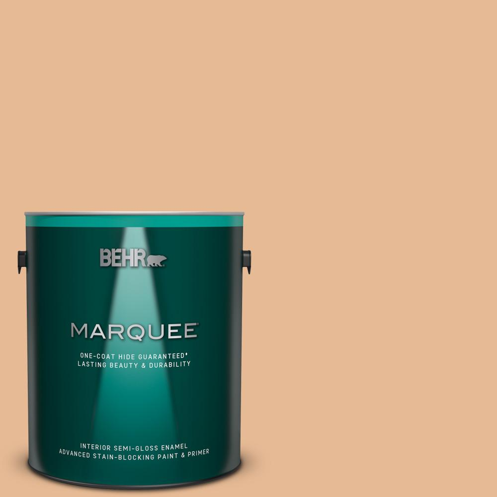 Behr Marquee 1 Gal 280c 3 Fresh Praline Semi Gloss Enamel Interior Paint And Primer In One 345401 The Home Depot