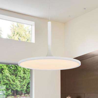 Salm Collection 35-Watt White Integrated LED Adjustable Hanging Modern Disc Chandelier 17 in.
