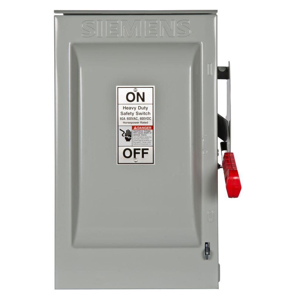 Heavy Duty 60 Amp 600-Volt 3-Pole Outdoor Fusible Safety Switch