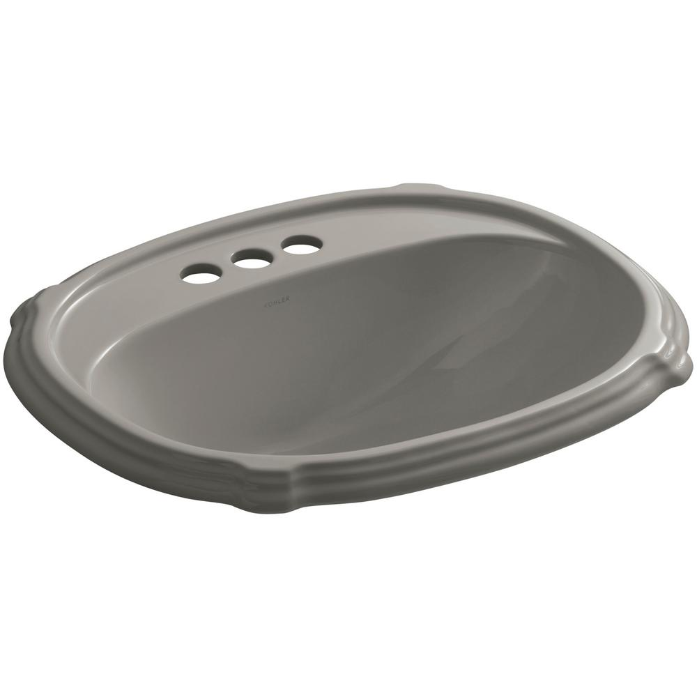 KOHLER Portrait Drop-In Vitreous China Bathroom Sink in Cashmere with Overflow Drain