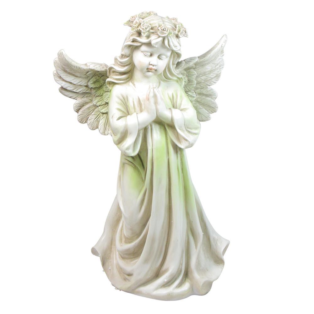 27 in. Angel Kneeling in Prayer Outdoor Patio Garden Statue