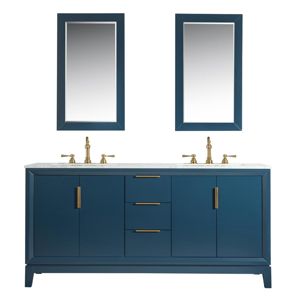 Water Creation Elizabeth 72 in. Monarch Blue With Carrara White Marble Vanity Top With Ceramics White Basins and Mirror and Faucet