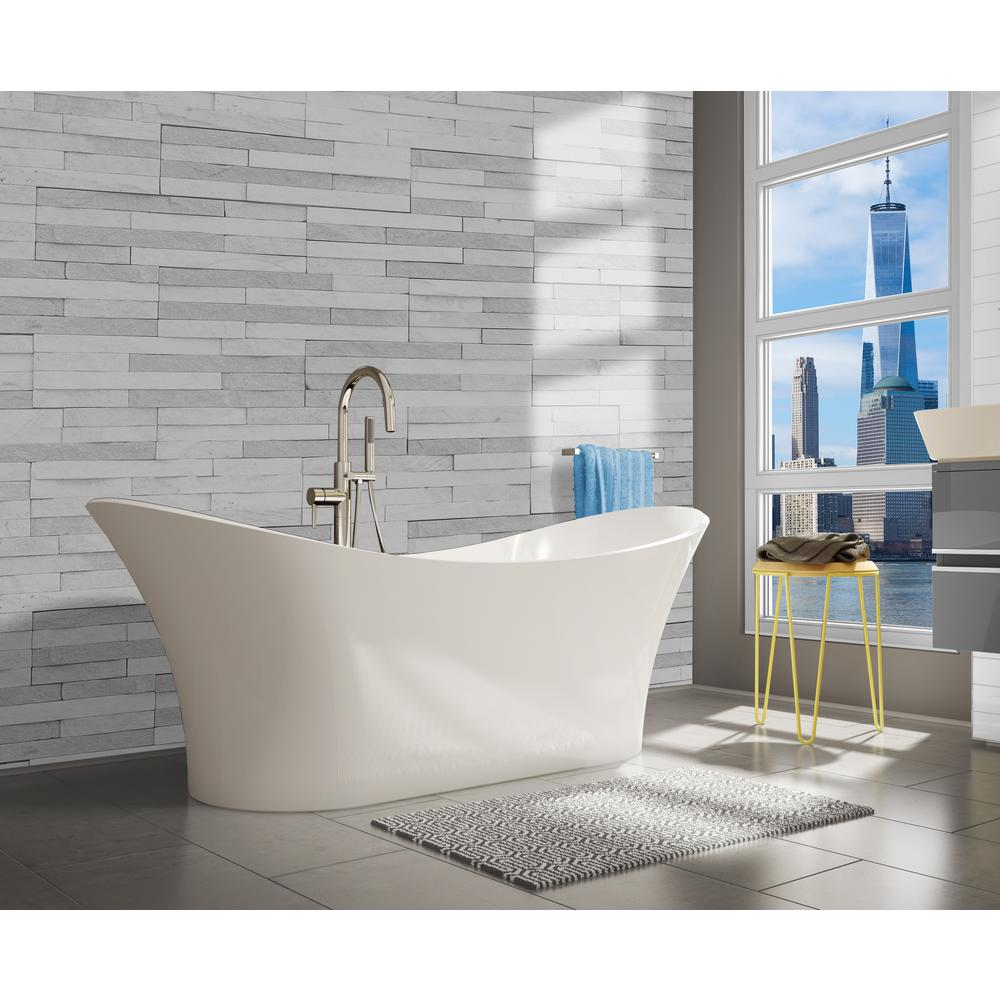 A E Bath Shower Ariel 69 In Freestanding Solid Surface Resin