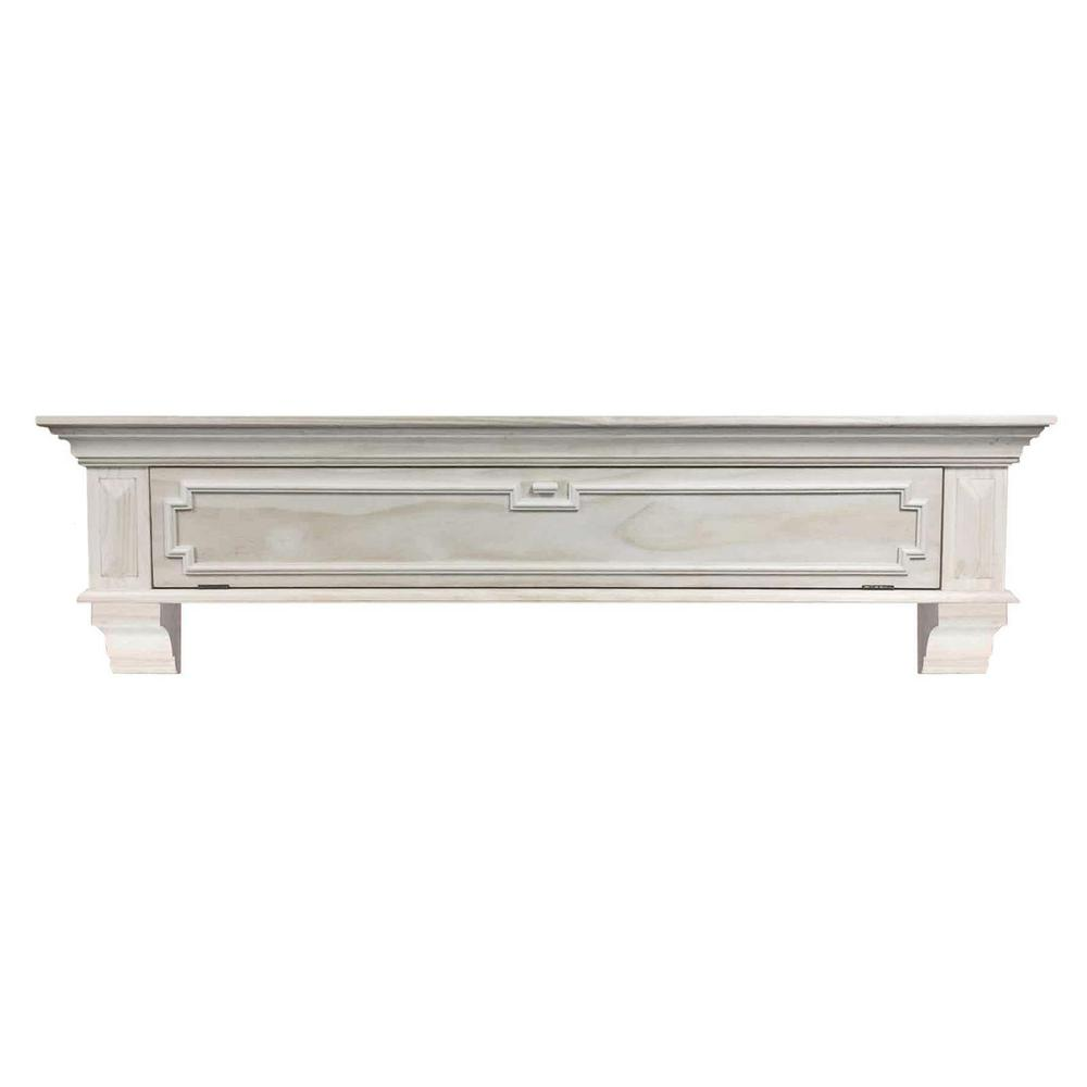 Thomas 4 ft. Unfinished Distressed Cap-Shelf Mantel with Drop Down Front