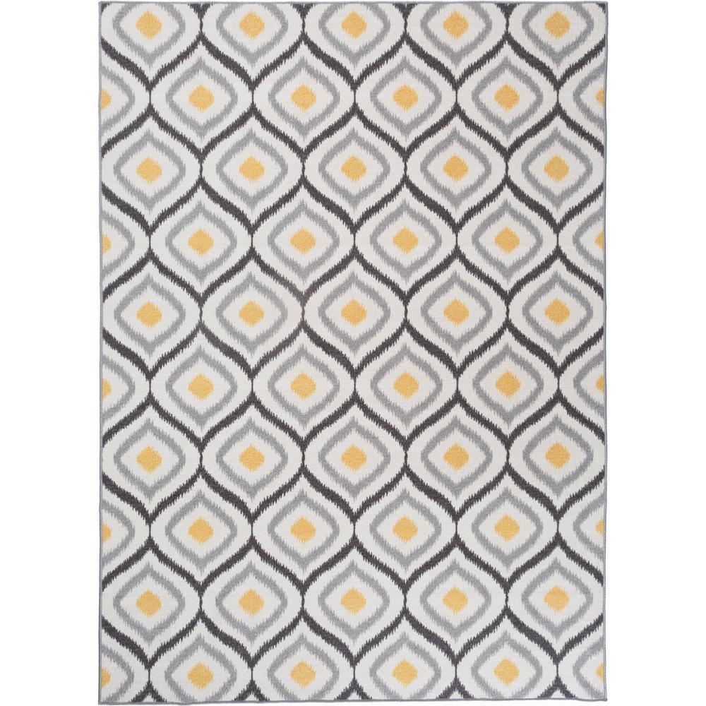 Modern Moroccan Design Non Slip Non Skid Gray Yellow