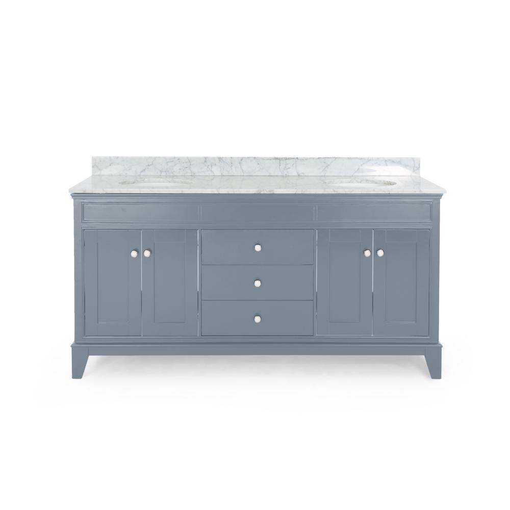 Noble House Finlee 72 in. W x 22 in. D Bath Vanity with Carrara Marble Vanity Top in Grey with White Basin