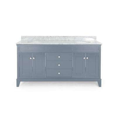 Finlee 72 in. W x 22 in. D Bath Vanity with Carrara Marble Vanity Top in Grey with White Basin