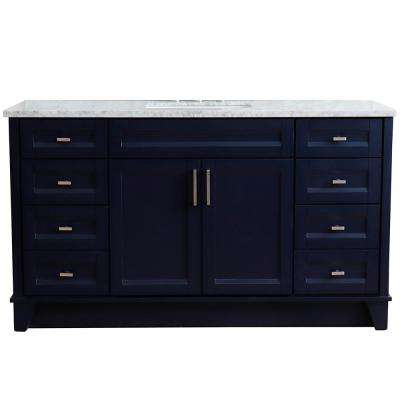 61 in. W x 22 in. D Single Bath Vanity in Blue with Marble Vanity Top in White Carrara with White Rectangle Basin