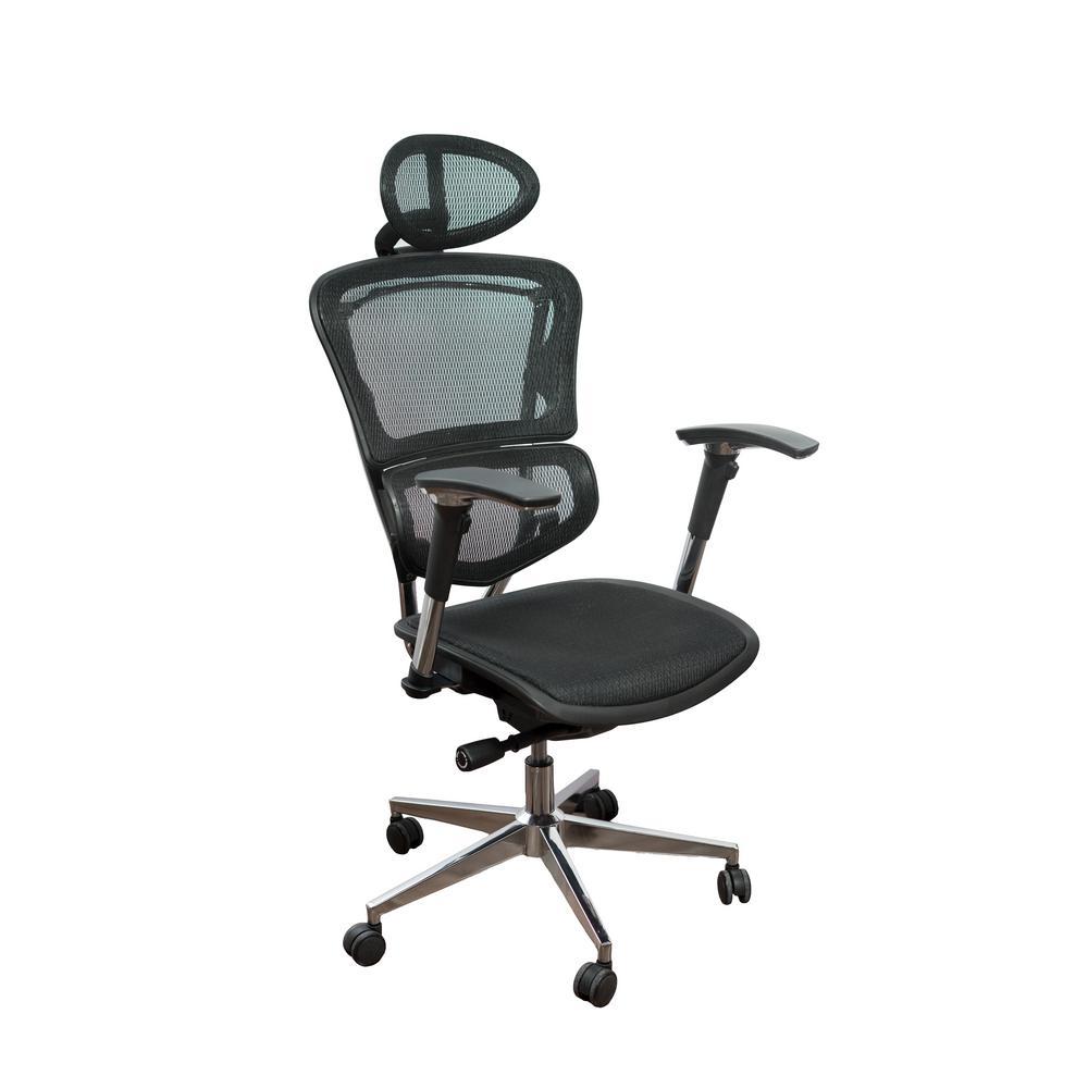 Ergonomic Black Adjustable Executive Office Swivel Chair with High Back, Headrest, Seat Slider, Mesh and Aluminum Base