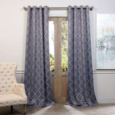 Semi-Opaque Seville Grey and Silver Grommet Blackout Curtain - 50 in. W x 108 in. L (Pair)