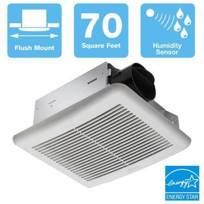 Slim Series 70 CFM Wall or Ceiling Bathroom Exhaust Fan with Humidity Sensor, ENERGY STAR
