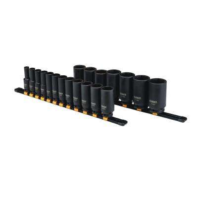 1/2 in. Drive SAE Deep Socket Set (19-Piece)