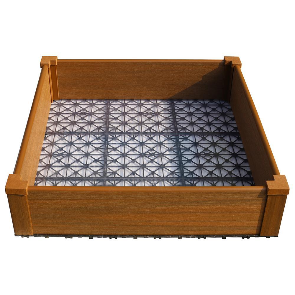 NewTechWood 36 in. x 36 in. Peruvian Teak Composite Lumber Patio Raised Garden Bed Kit