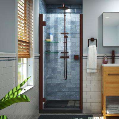 Lumen 42 in. x 72 in. Semi-Frameless Hinged Shower Door in Oil Rubbed Bronze with 42 in. x 32 in. Base in Black