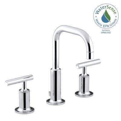 Purist 8 in. Widespread 2-Handle Low-Arc Water-Saving Bathroom Faucet in Polished Chrome with Low Gooseneck Spout