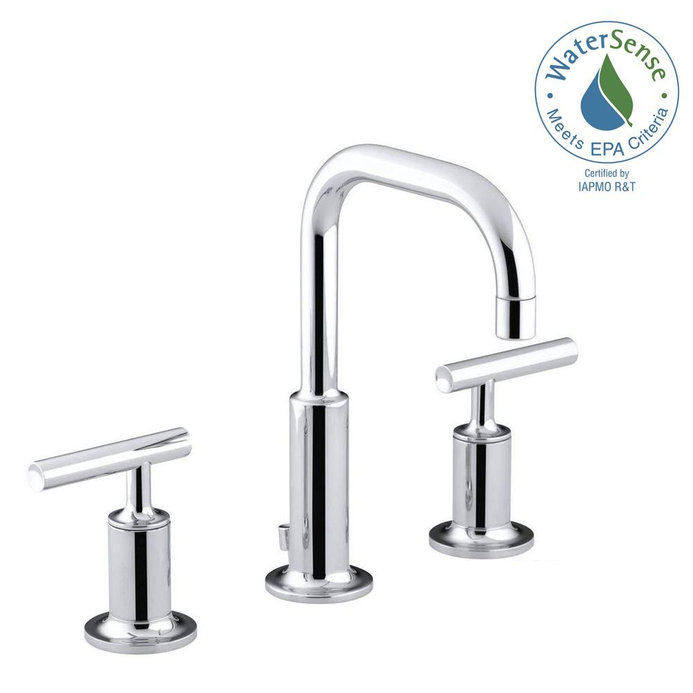 KOHLER Purist 8 in. Widespread 2-Handle Low-Arc Water-Saving Bathroom  Faucet in Polished Chrome with Low Gooseneck Spout