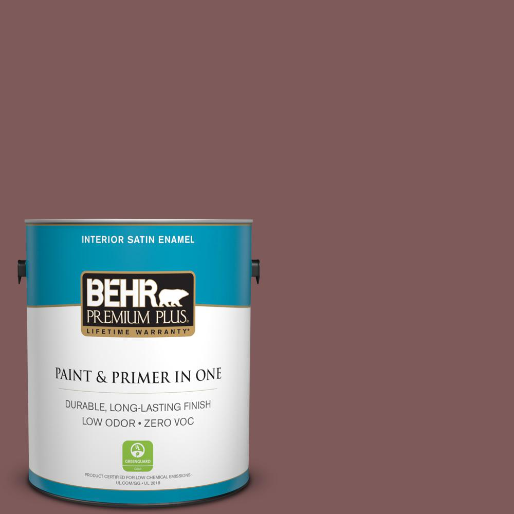 BEHR Premium Plus 1-gal. #140F-6 Book Binder Zero VOC Satin Enamel Interior Paint
